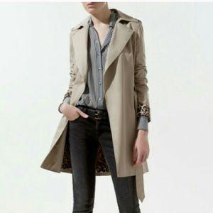 Zara leopard print lined trench jacket